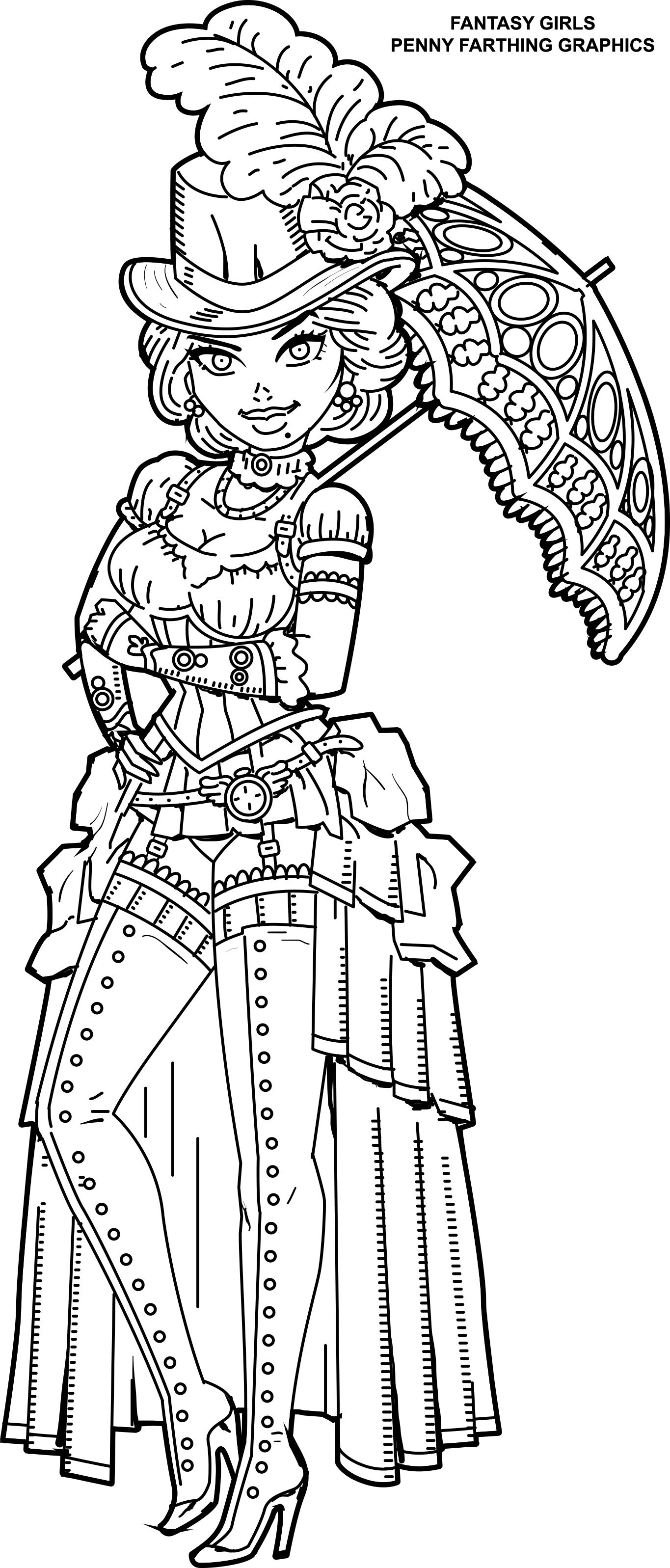 Steampunk Coloring Page From Fantasy Girls: Femme Fatales
