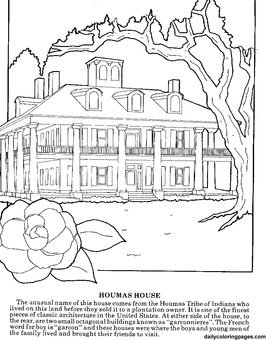 Coloring Pages For Adults   Louisiana Plantations Difficult