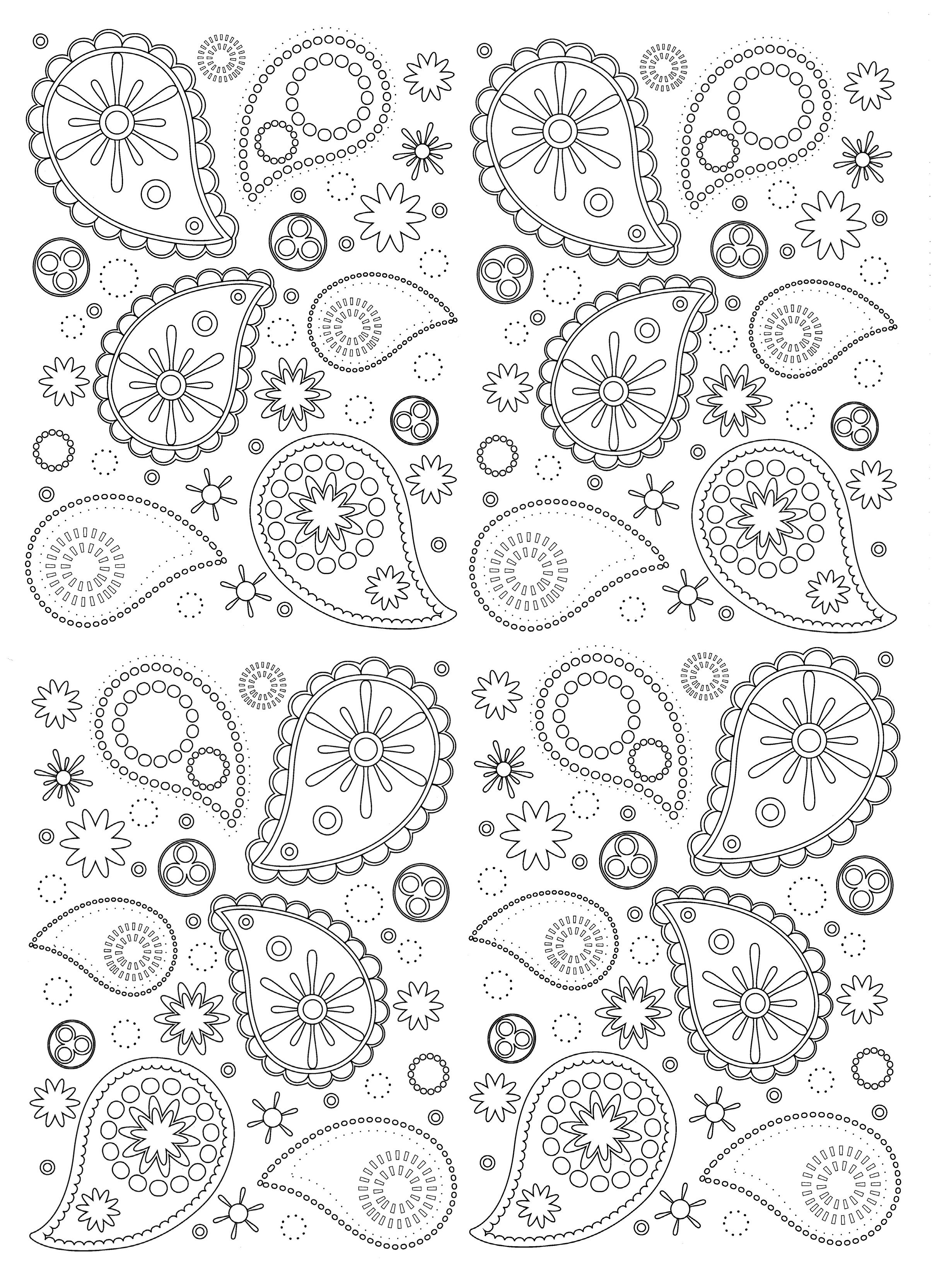 Free Coloring Page Coloring-paisley Beautiful And