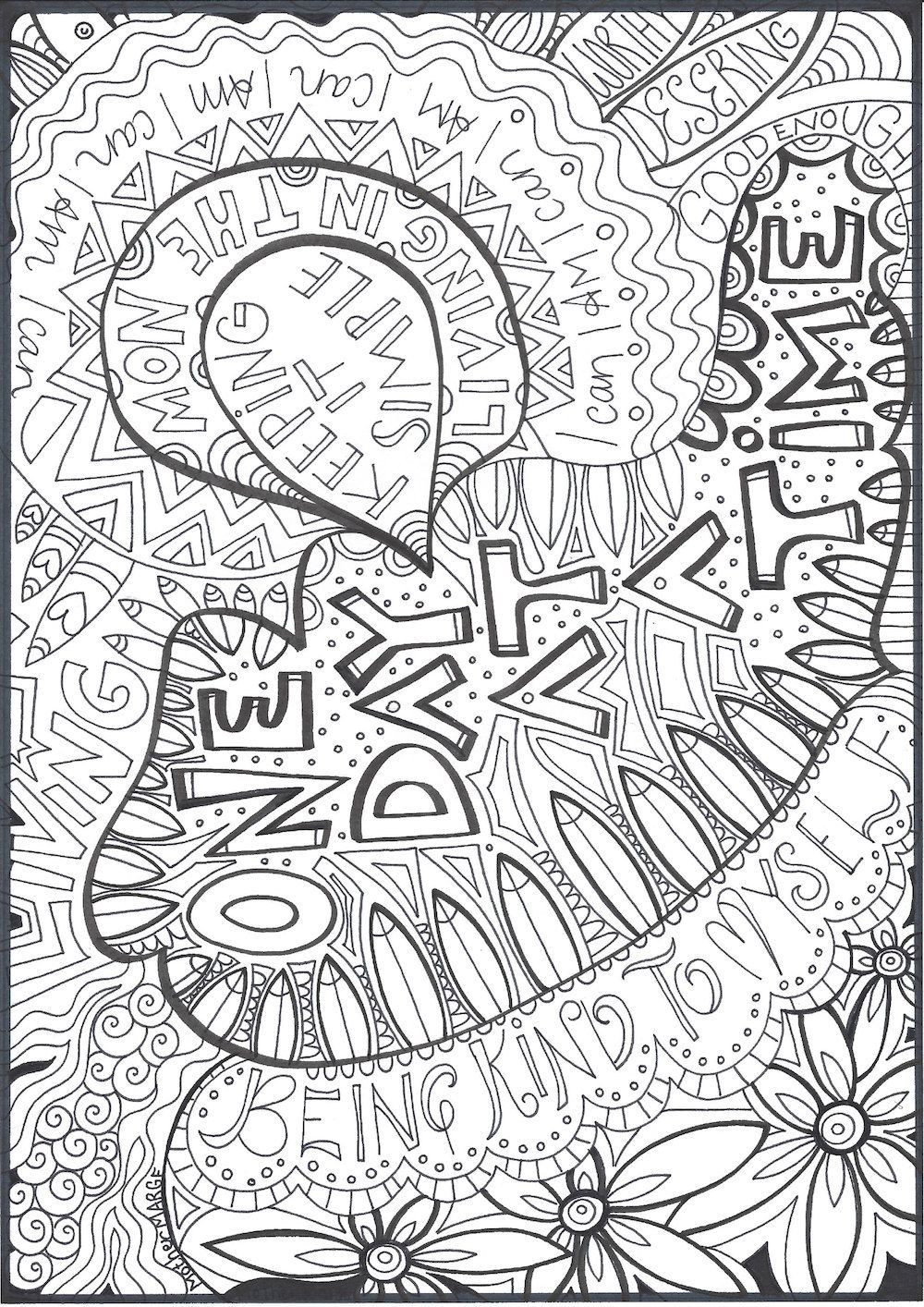 One Day At A Time Coloring Page Download, Adult Coloring