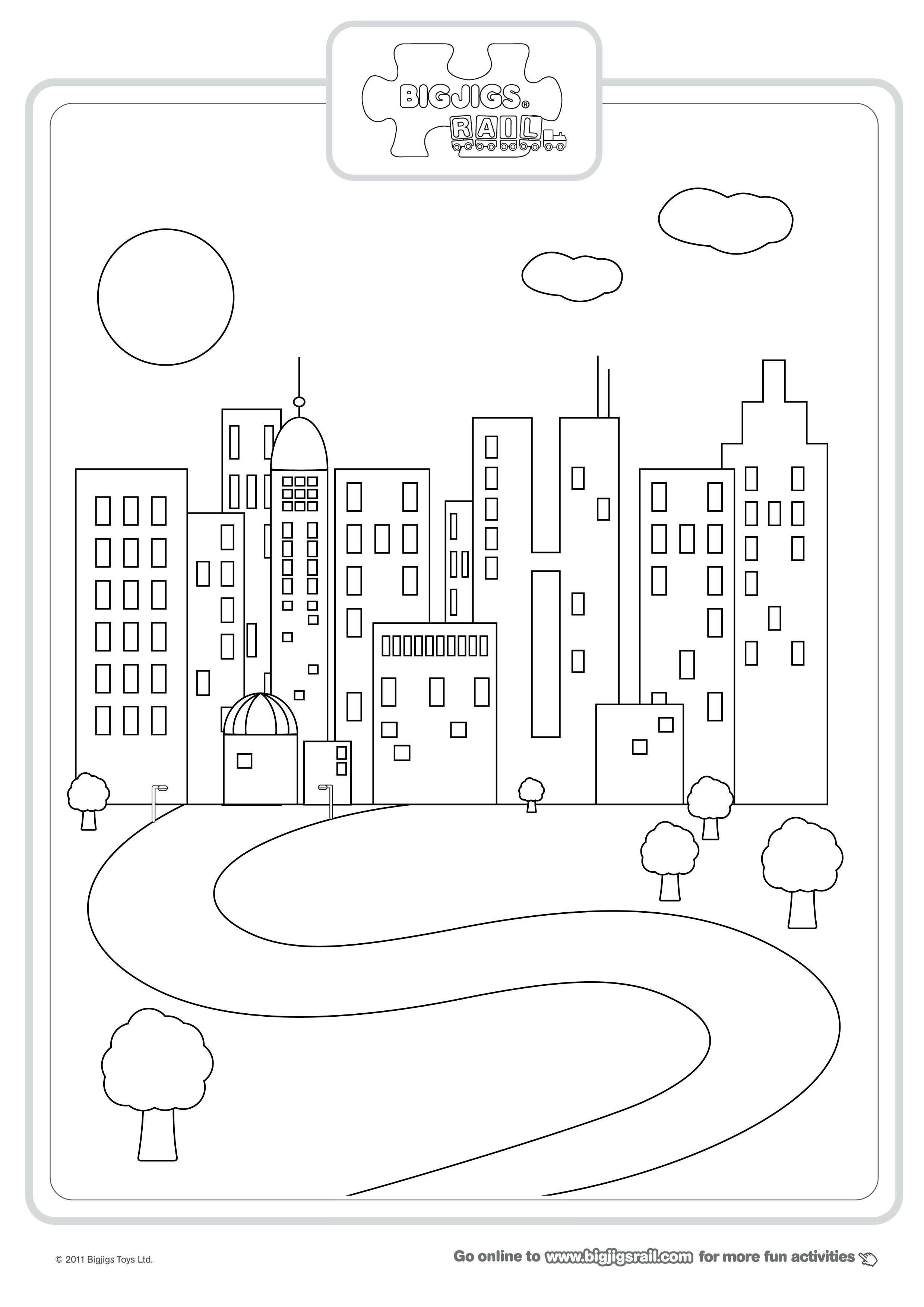 Cityscape Coloring Page City   Reading   Coloring Pages