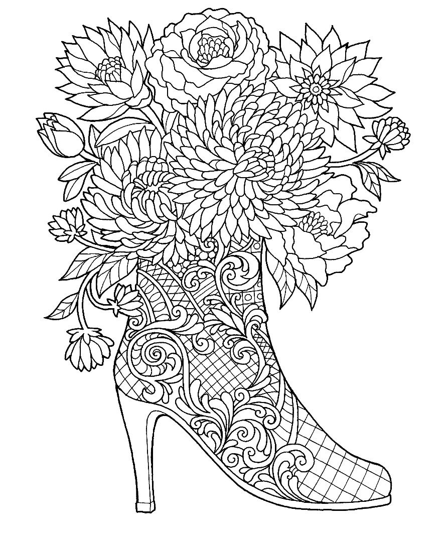 High Heel Boot With Flowers Coloring Page: Colors Of The