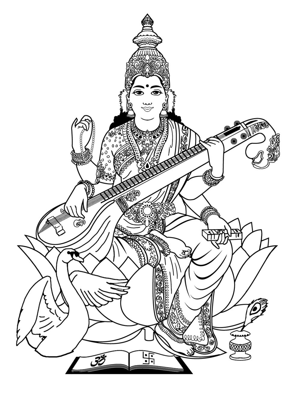Free Coloring Page Coloring-adult-india-saraswati-3 Image