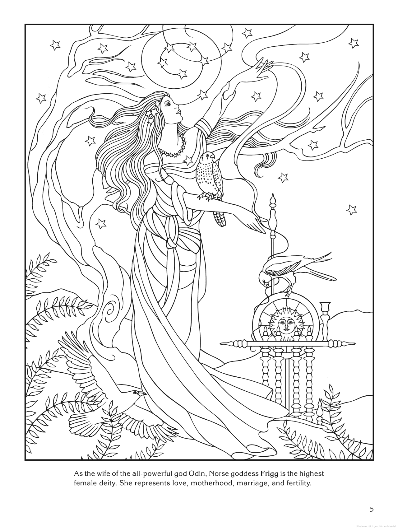 Goddess Coloring Page - Frigg (norse) | Design Patterns