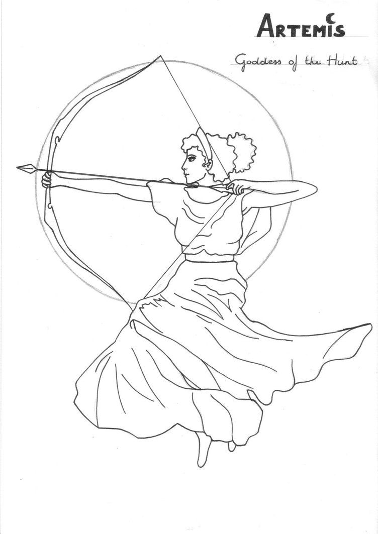 Artemis Coloring Page Greek God Mythology Unit Study By