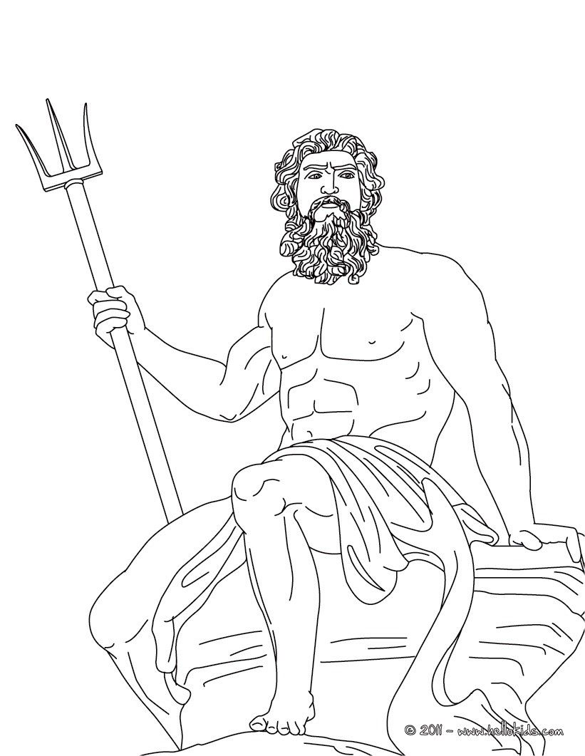 Poseidon The Greek God Of The Sea Coloring Page | School In