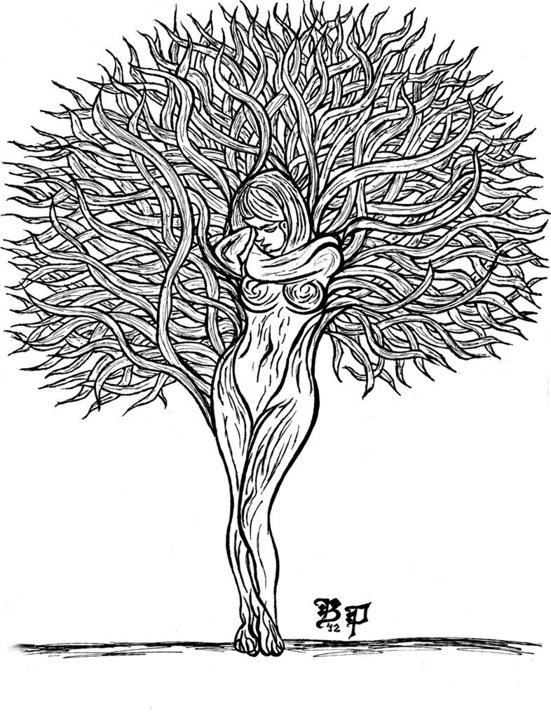 Tree Lady   Art   Pine Tattoo, Coloring Pages, Tree Art