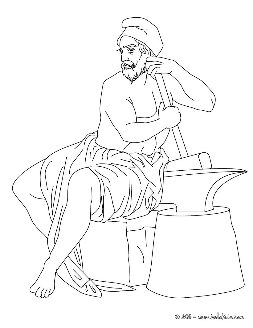 Hephaestus Greek Goddess & Gods Coloring Page   Coloring