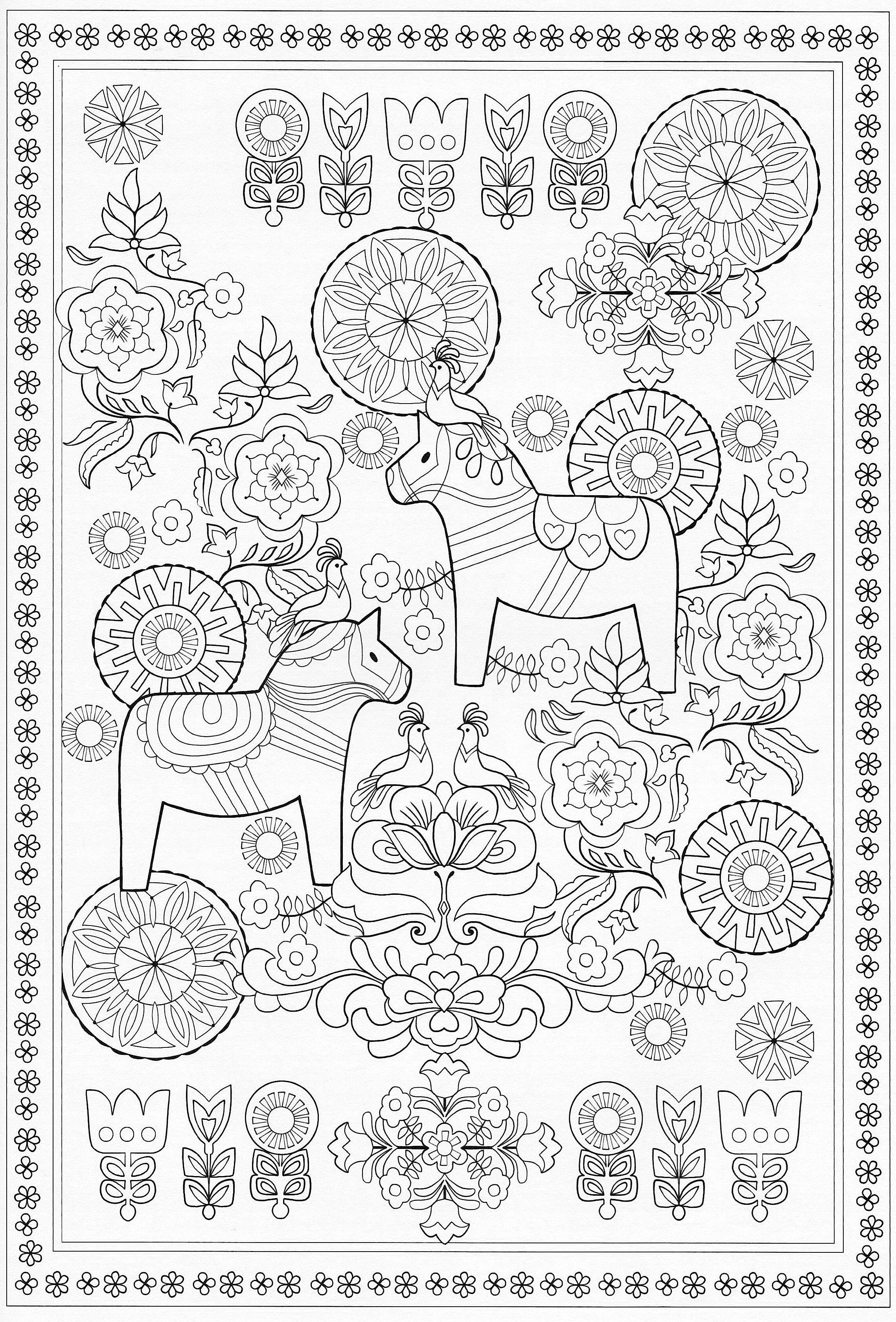 Scandinavian Coloring Book Pg 58 | Color Pages, Stencils