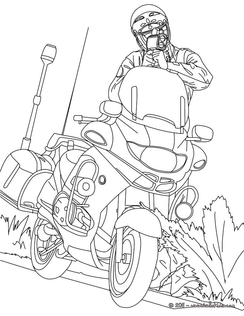 Police Motorcycle Coloring Pages, Printable Police