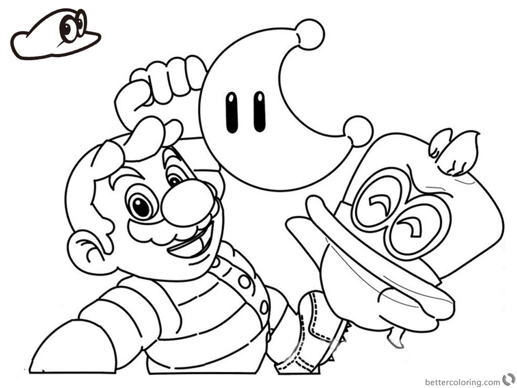 Free Super Mario Odyssey Coloring Pages Line Drawing