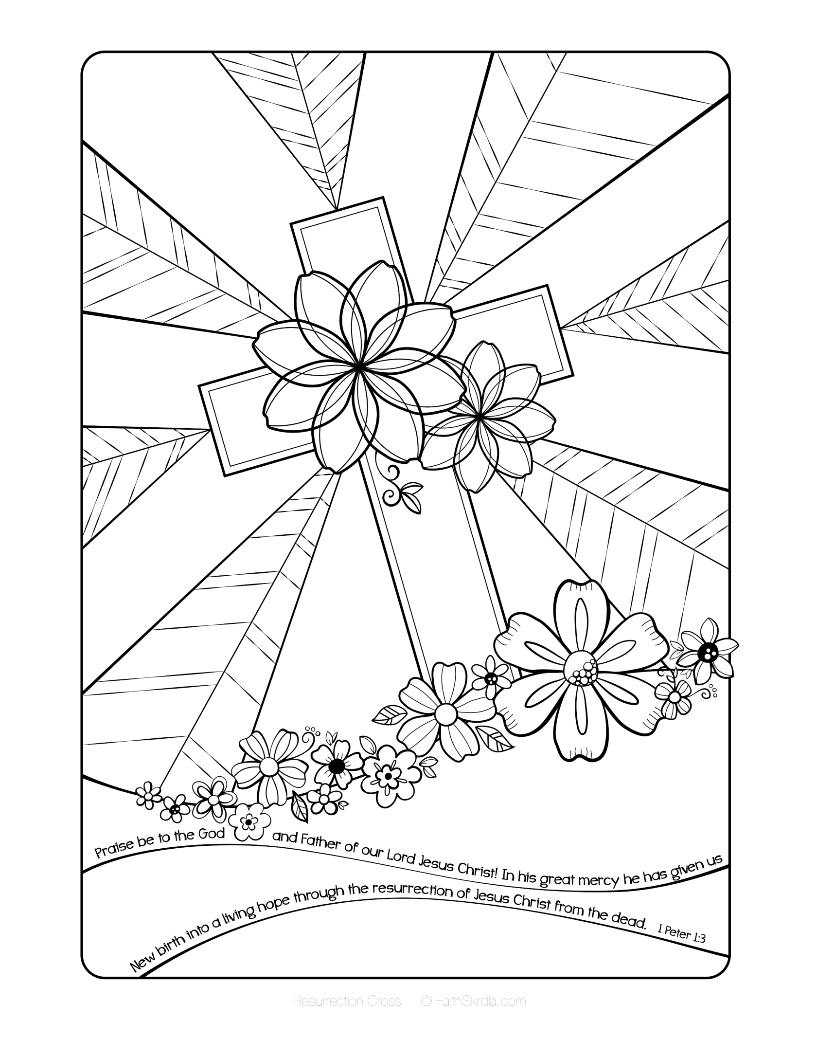 Free Easter Adult Coloring Page By Faith Skrdla Resurrection