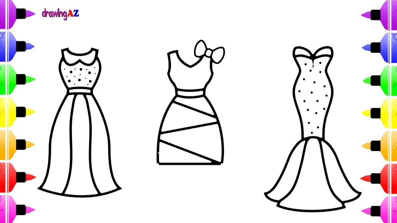 How To Draw Dress, Clothes For Girls   Children's Coloring