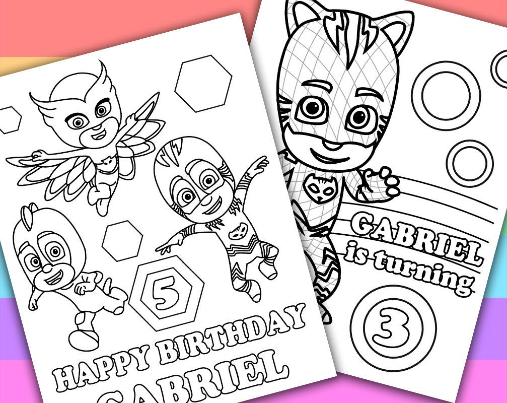 Pin By Special Smith On Pj Mask Coloring Pages   Birthday