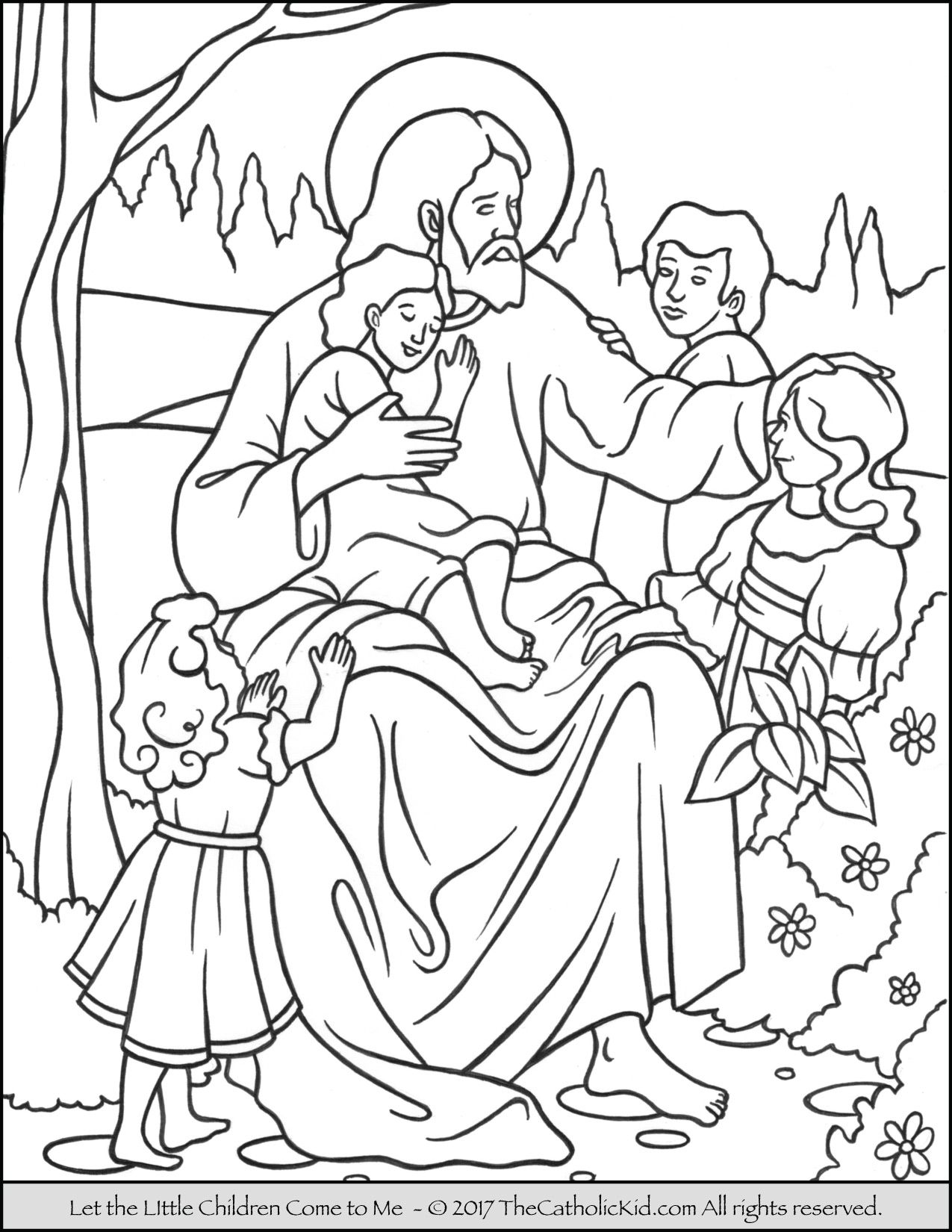 Jesus – Let The Little Children Come To Me Coloring Page