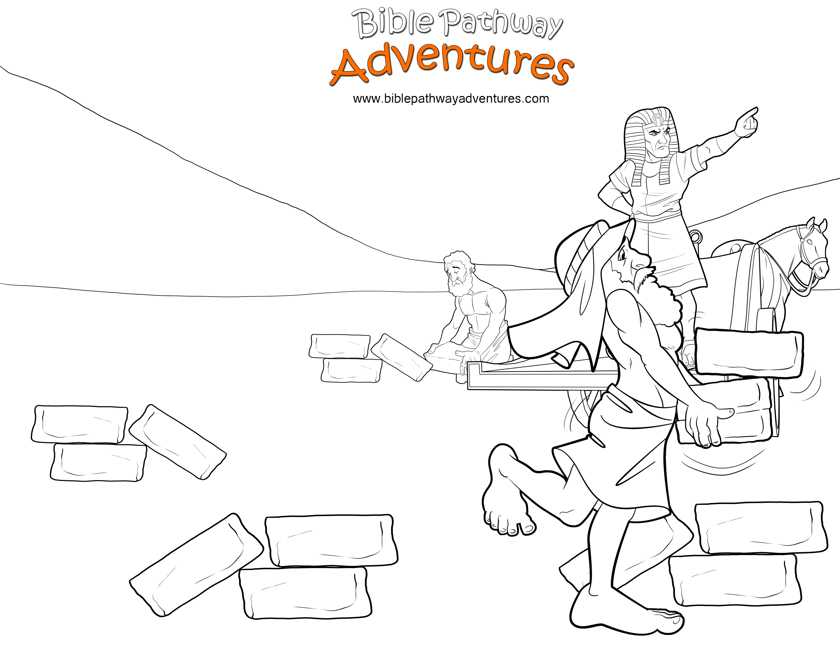 Bible Coloring Page: Pharaoh And Hebrew Slaves   Old Moses