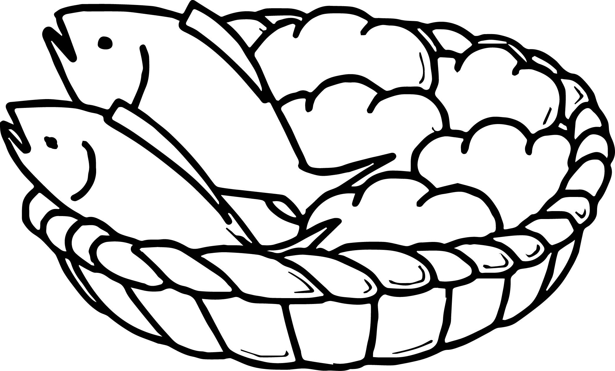 Awesome 5 Loaves Bread And 2 Fish Coloring Page | Loaves And