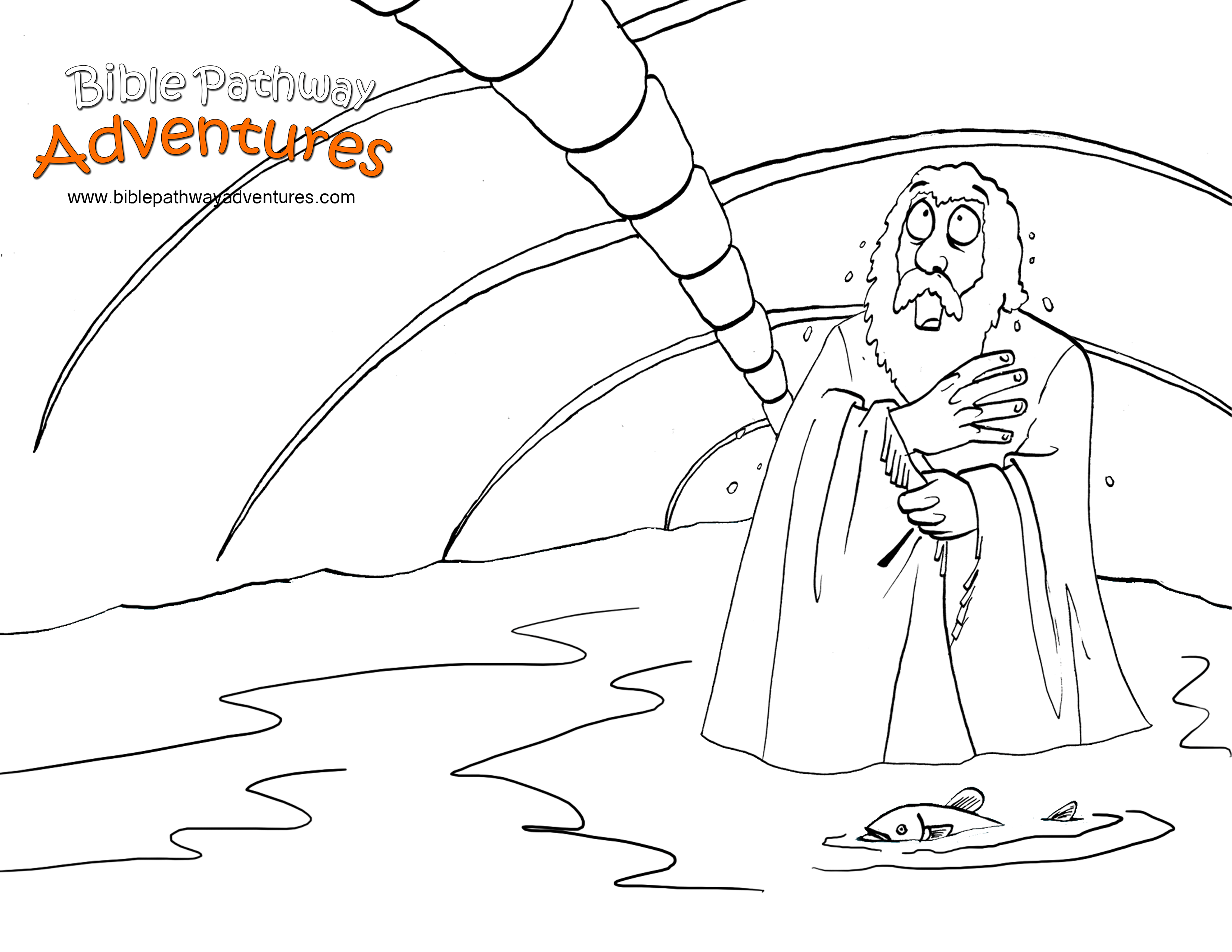Free Bible Coloring Page - Jonah Inside A Fish | Old Jonah