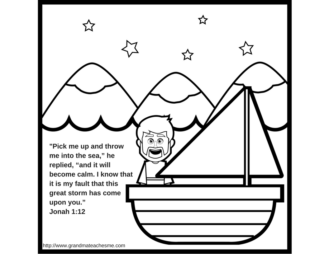 Jonah & The Whale Coloring Page | Rey | Whale Coloring Pages