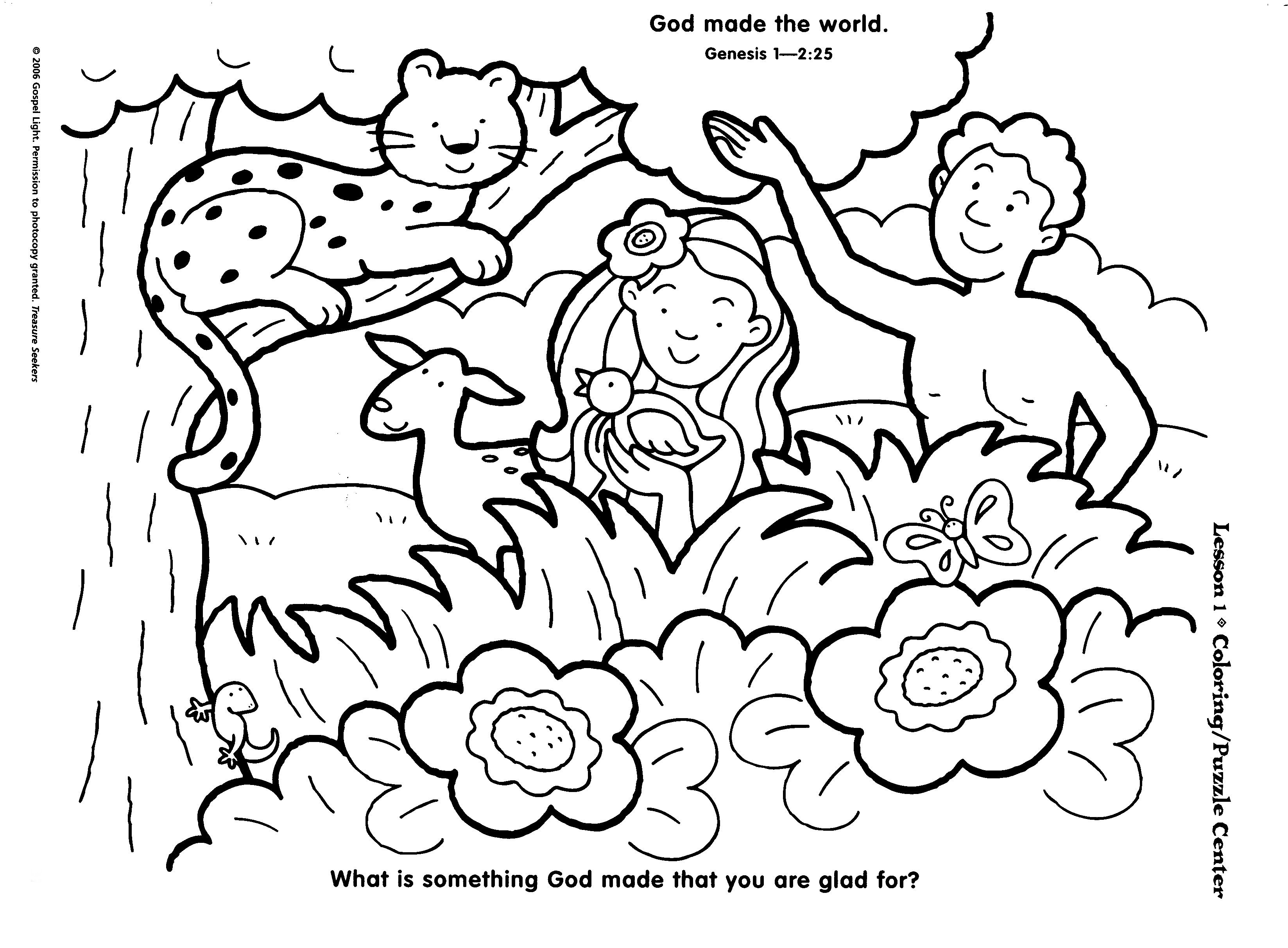 Preschool Creation Coloring Page | Sunday School Pictures