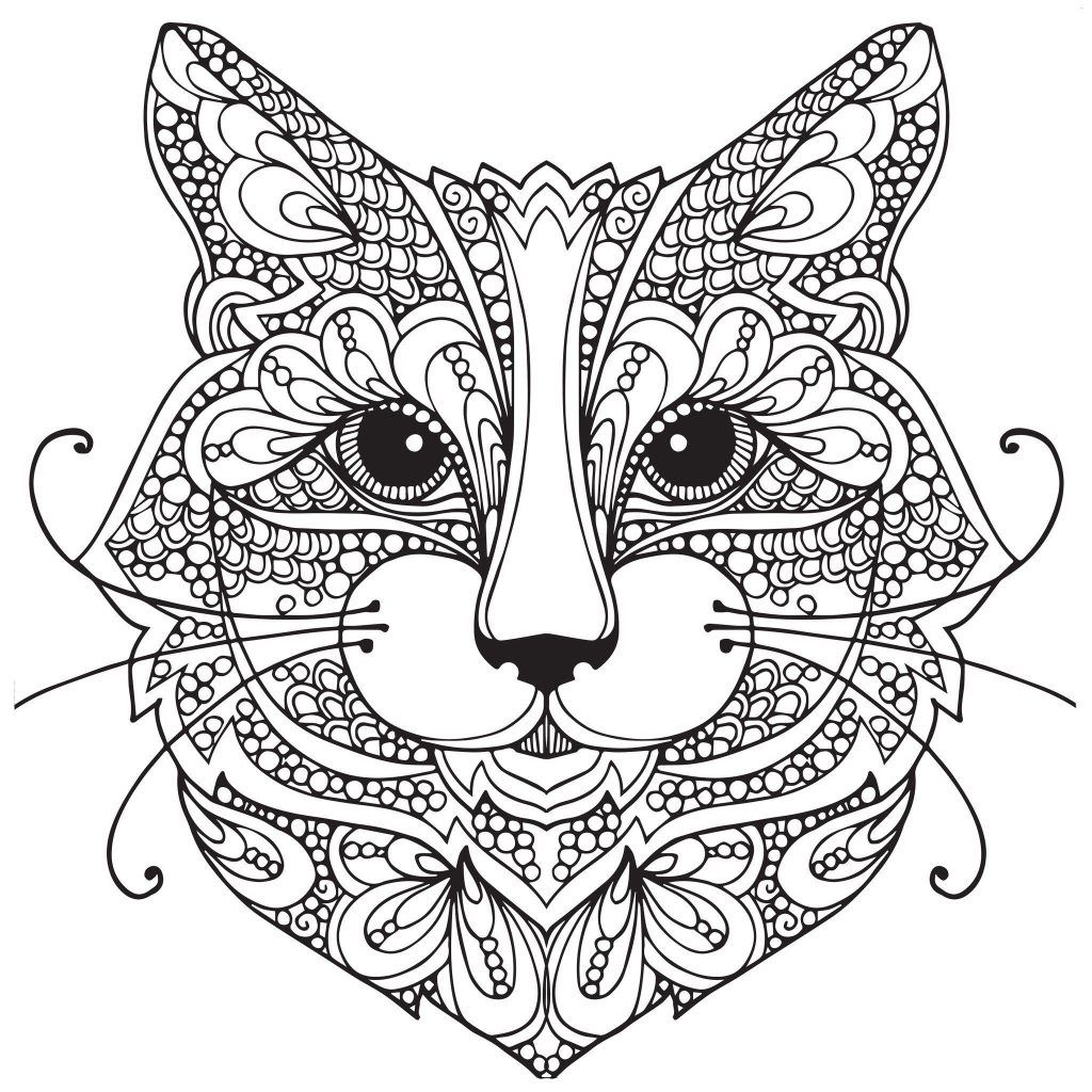 Cat Coloring Pages For Adults | Coloring Pages | Mandala