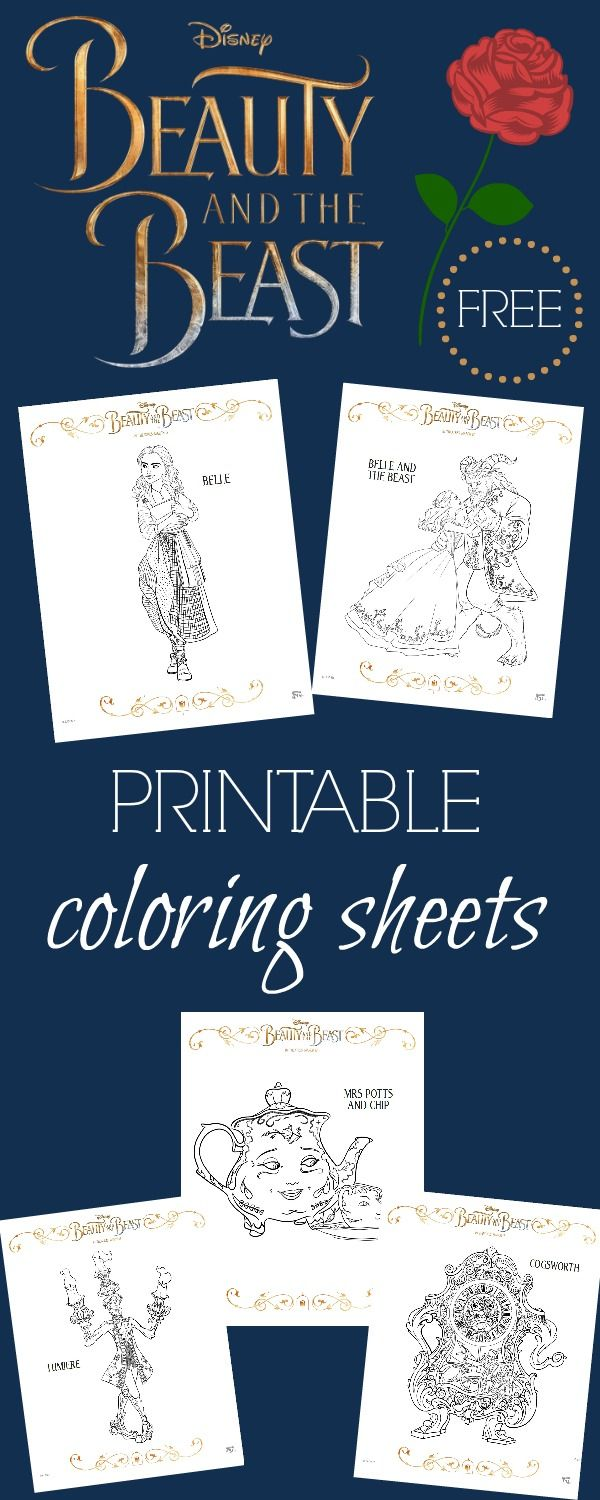 Beauty And The Beast Coloring Pages + Free Activity Sheets
