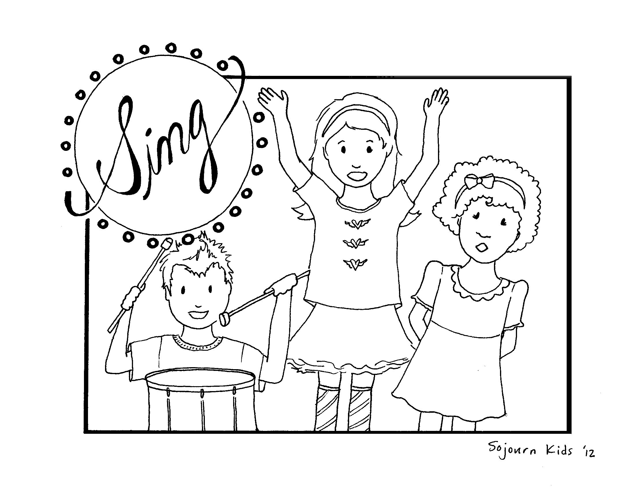 Free Coloring Pages Children Singing In Church | Coloring