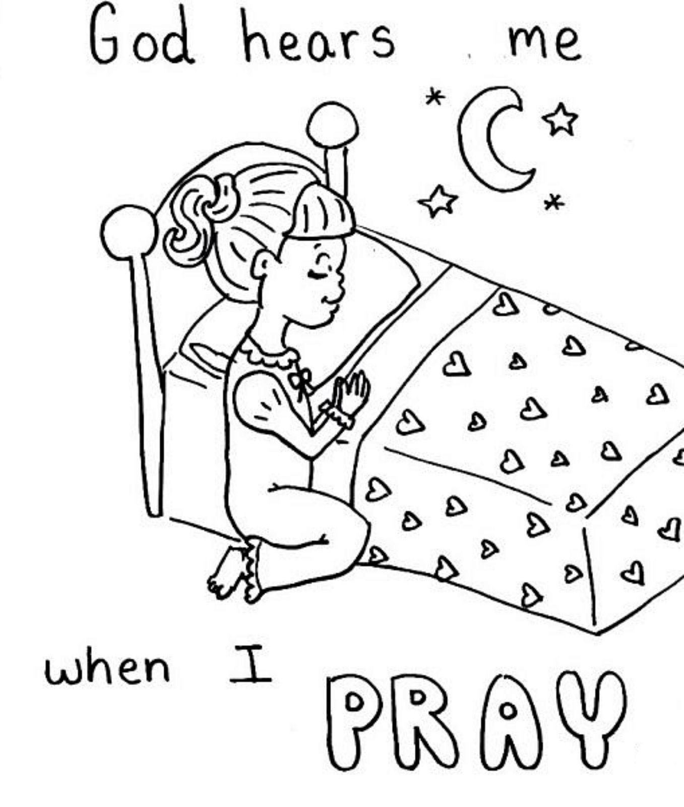 Pray Coloring Sheet   Sunday School   Preschool Bible