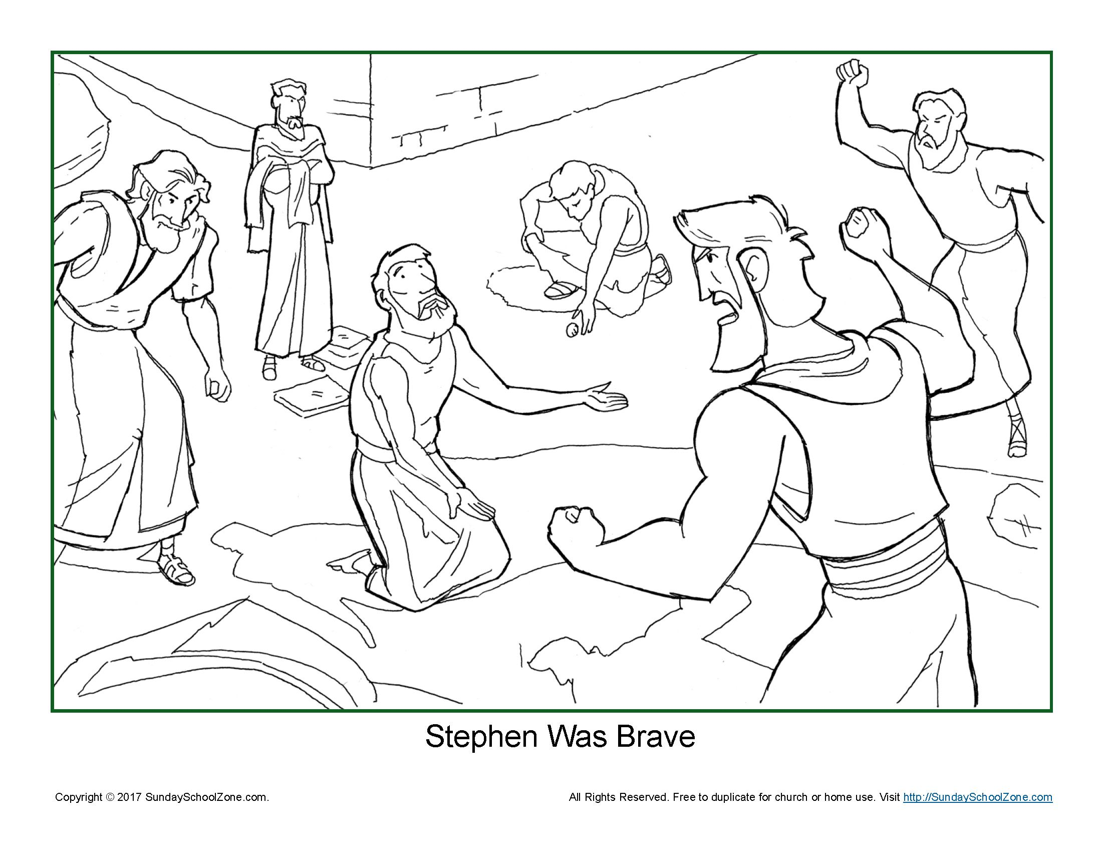 Stephen Was Brave Coloring Page On Sunday School Zone