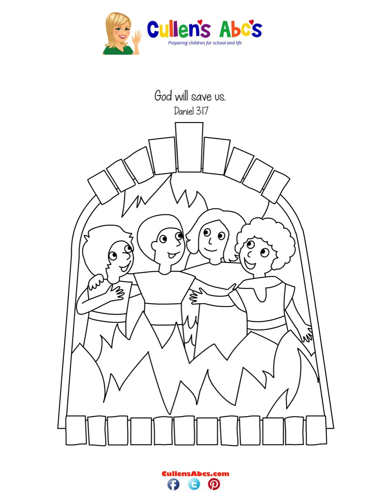 Bible Key Point Coloring Page   Shadrach, Meshach And