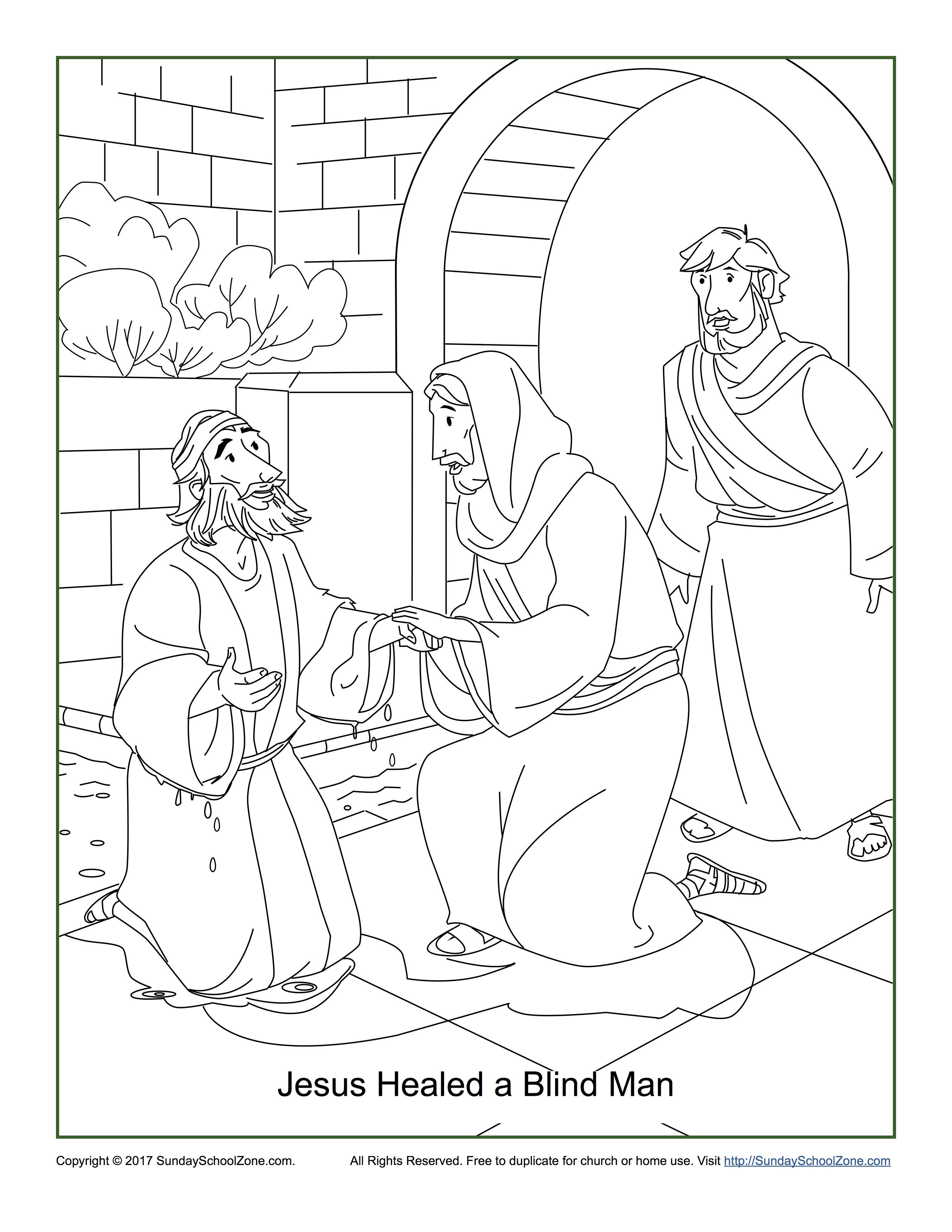 Jesus Healed A Blind Man Coloring Page John 9:1-7 | Jesus