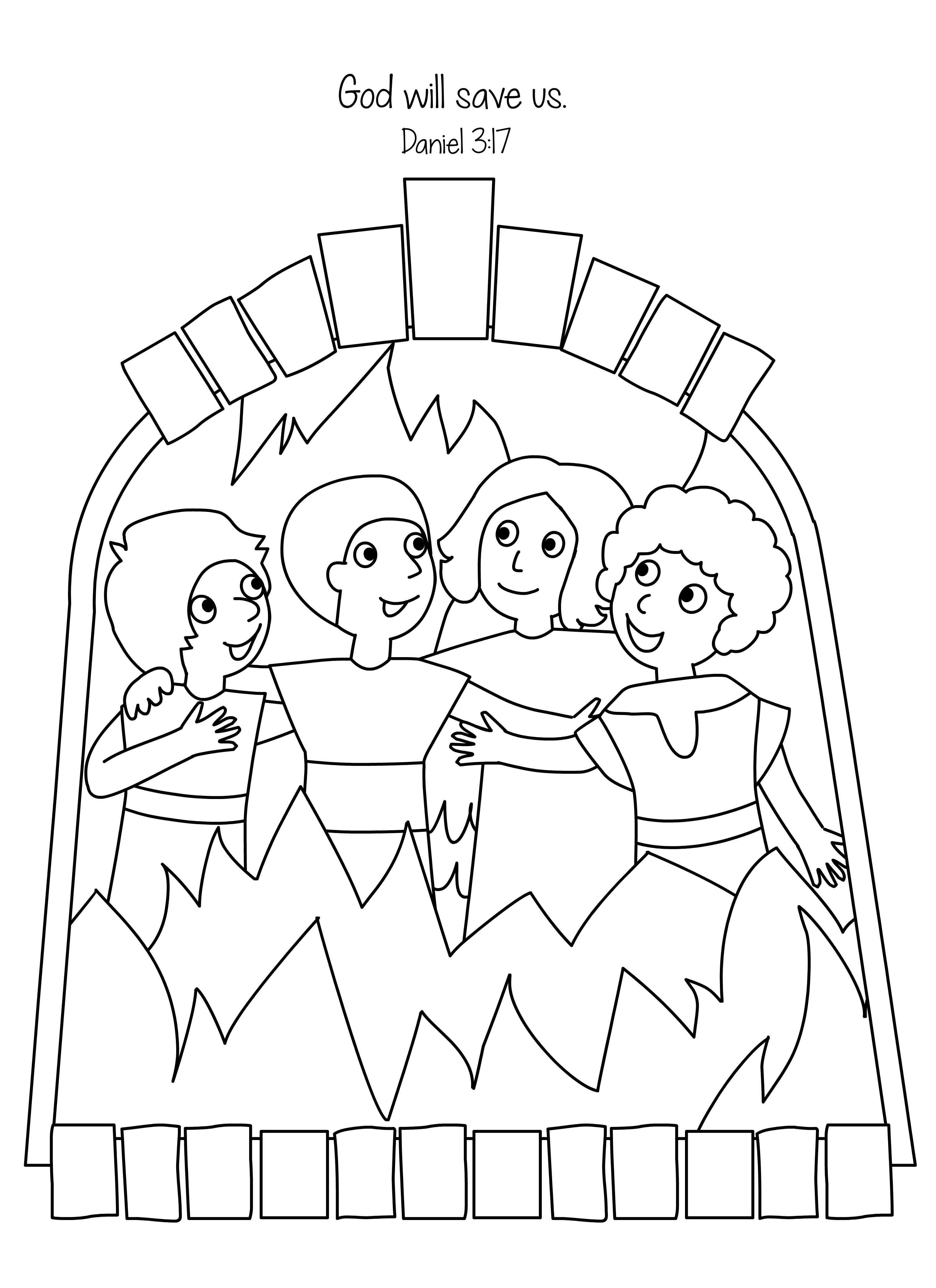 Amazing Fiery Furnace Coloring Page - Shadrach Meshach And
