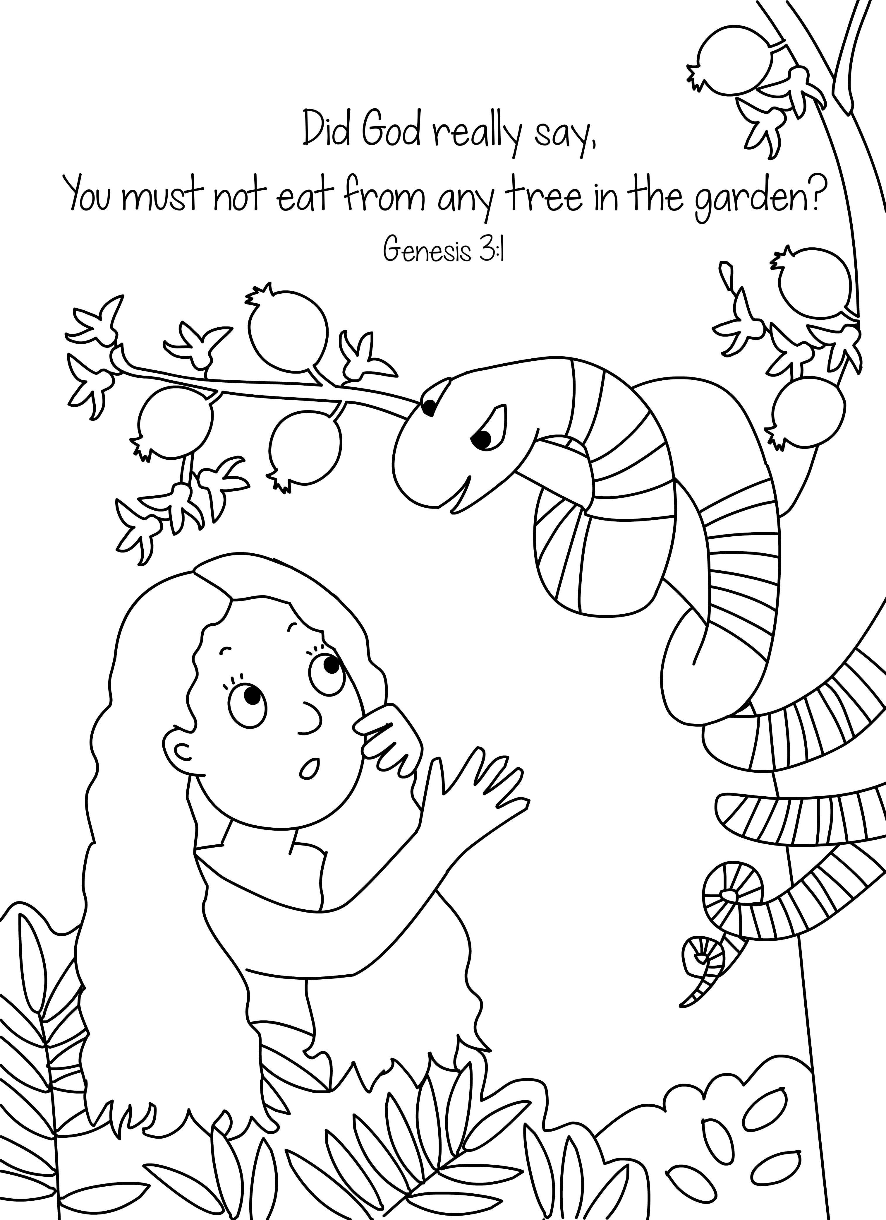 Sneaky Snake Bible Coloring Page Free Download | Key Part Of