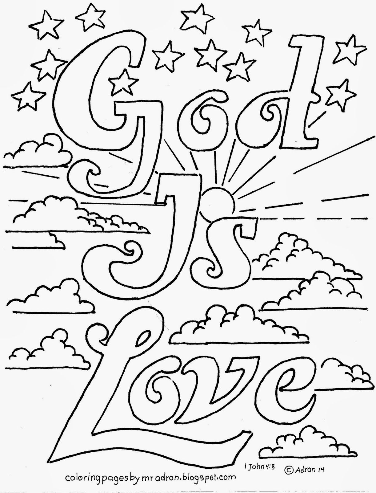 Coloring Pages For Kids By Mr Adron: God Is Love Printable
