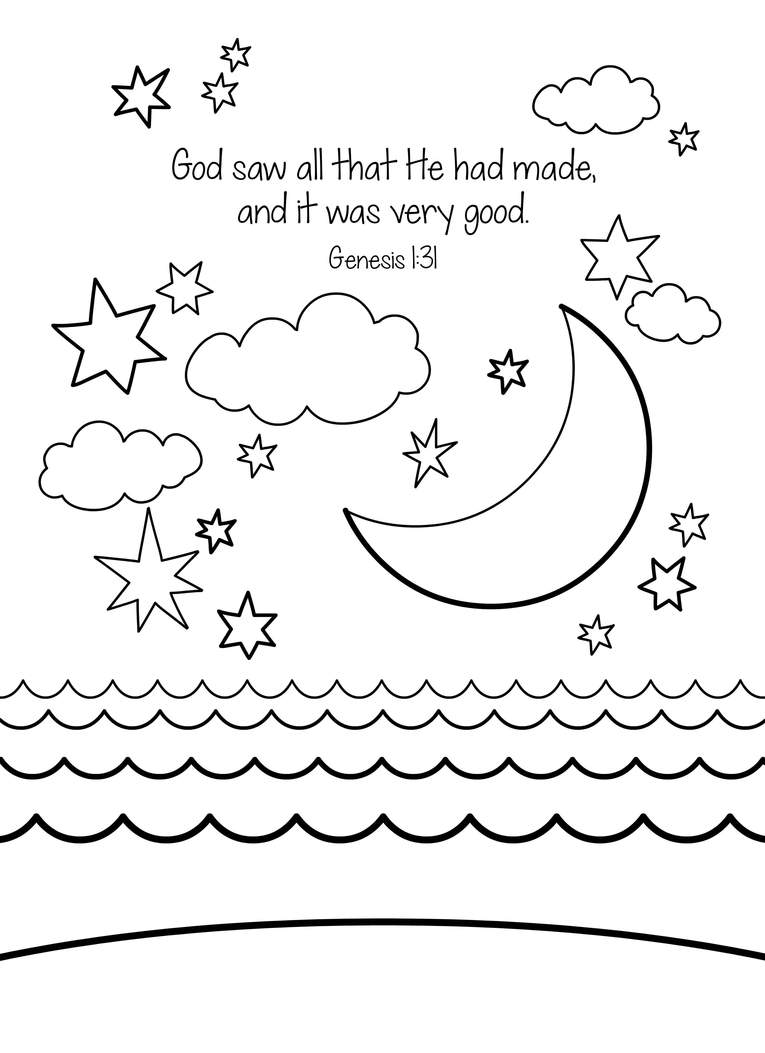 Creation Bible Coloring Page Free Download   Great Part Of