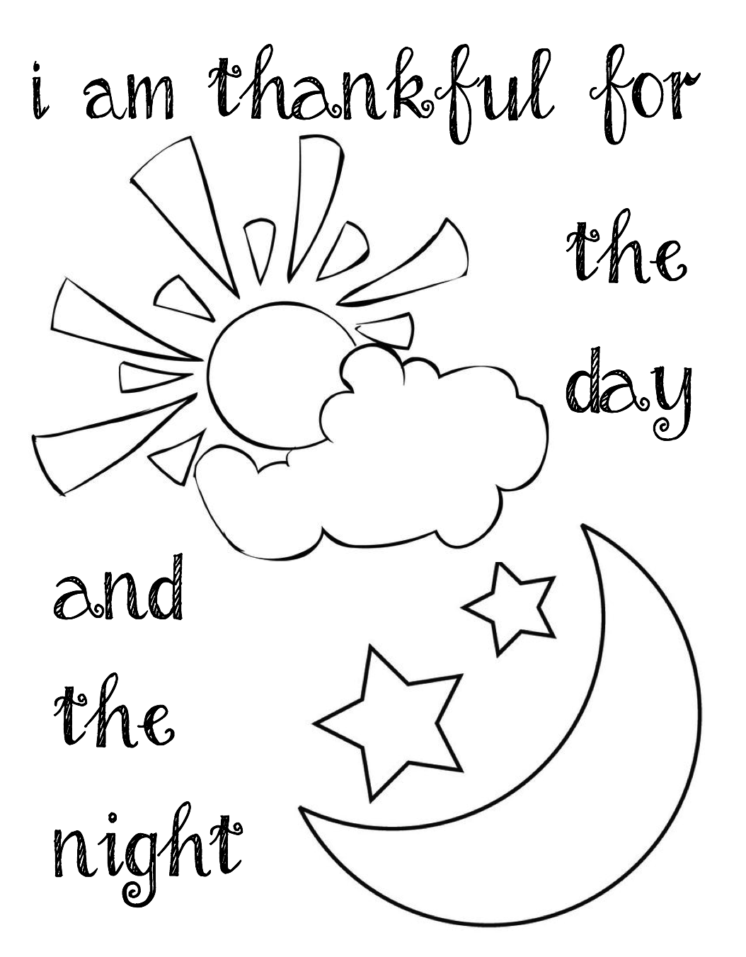 I Am Thankful For The Day And Night Coloring Page For Lds