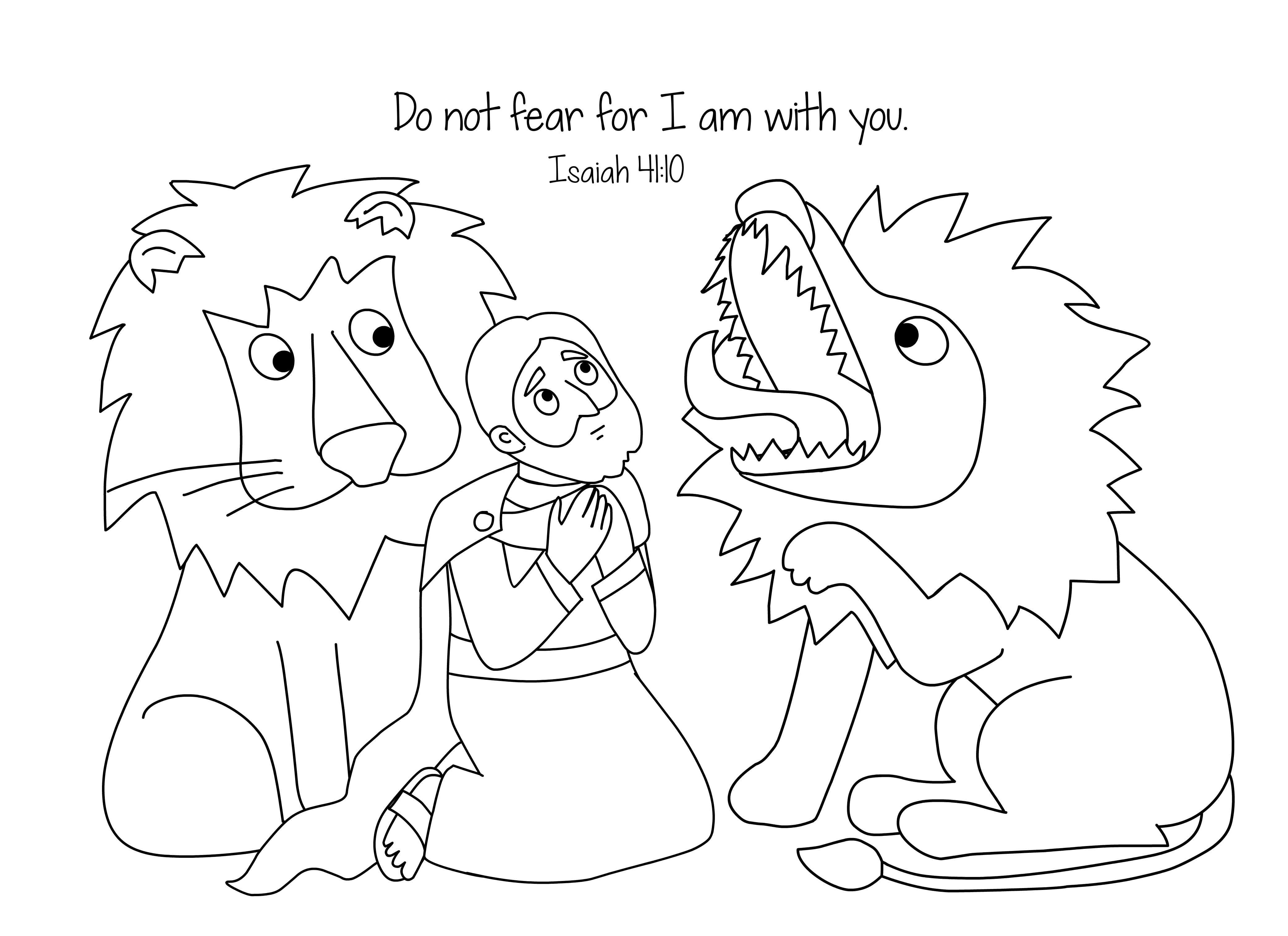 Daniel And The Loins Bible Coloring Page Free Download