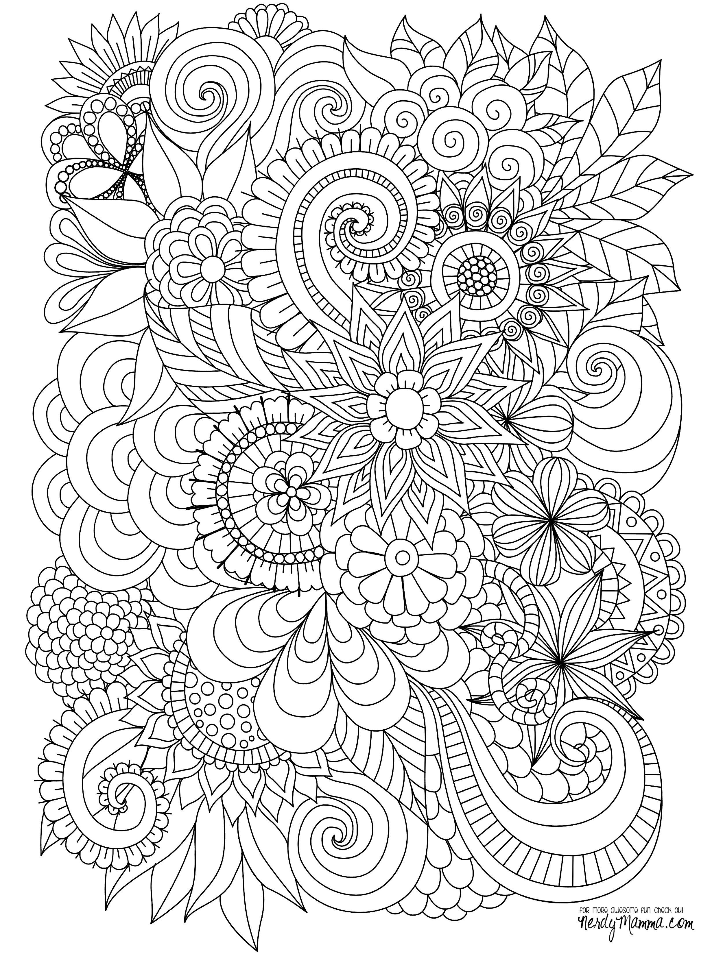Flowers Abstract Coloring Pages Colouring Adult Detailed