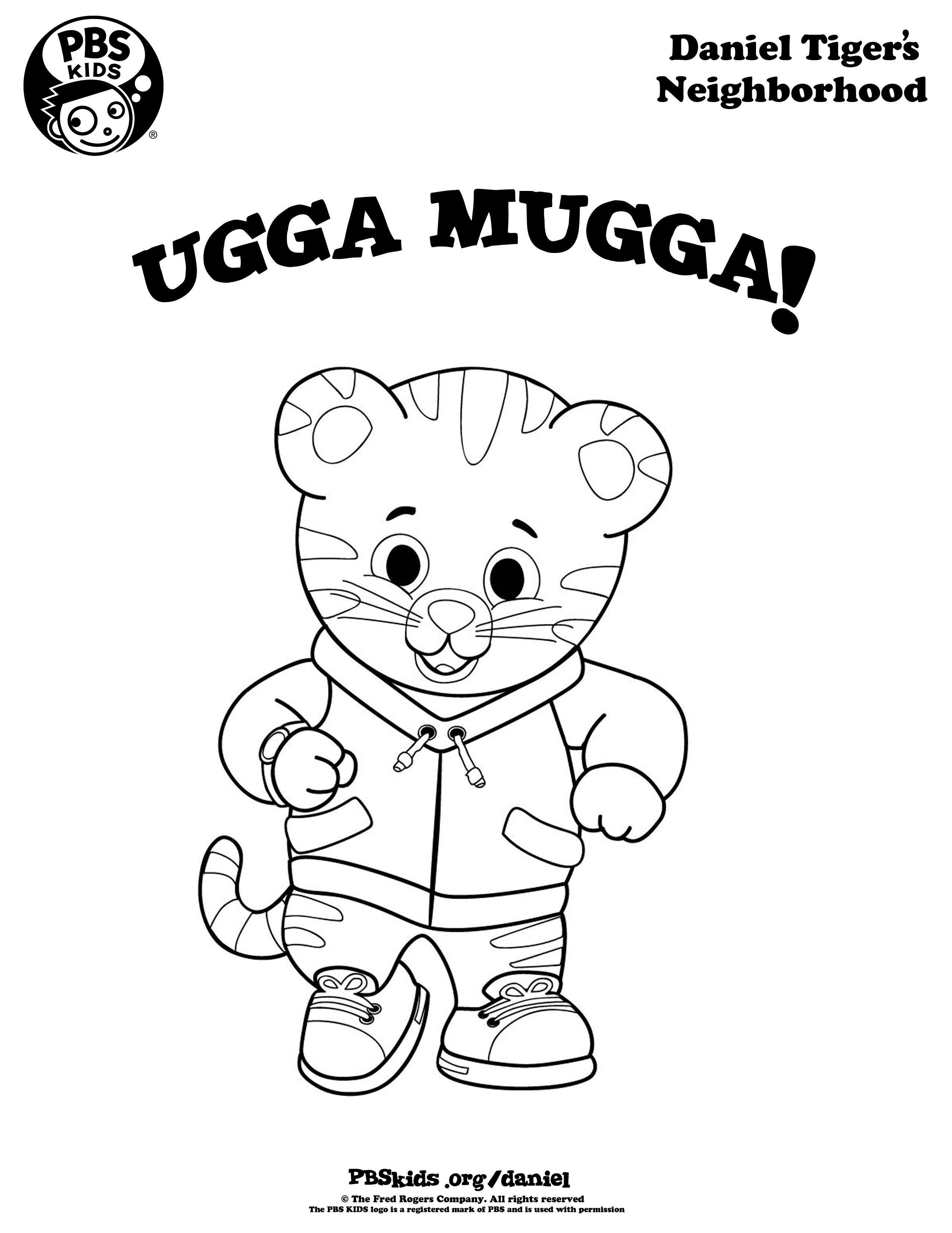 Ugga Mugga! Daniel Tiger Coloring Page! #wqed #pbskids