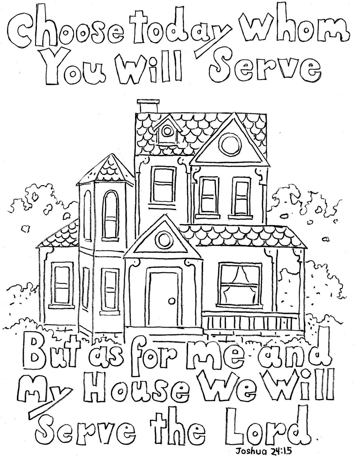 Obey The Lord Coloring Page | Joshua 24:15 Print And Color