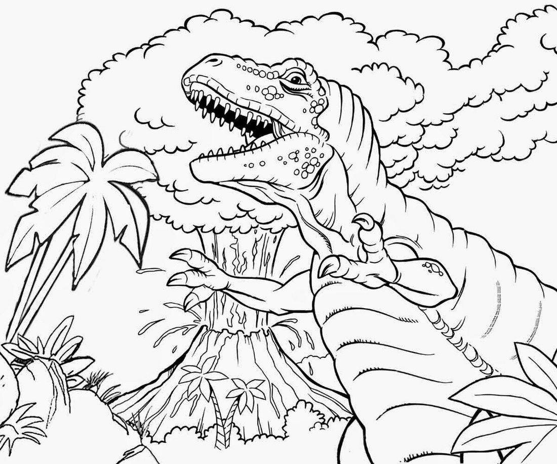 Dinosaur-and-volcano-coloring-sheet | Animal Coloring