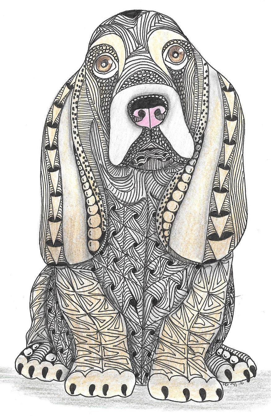 Adri: Basset Hound   Zentangle Patterns   Dog Coloring Page