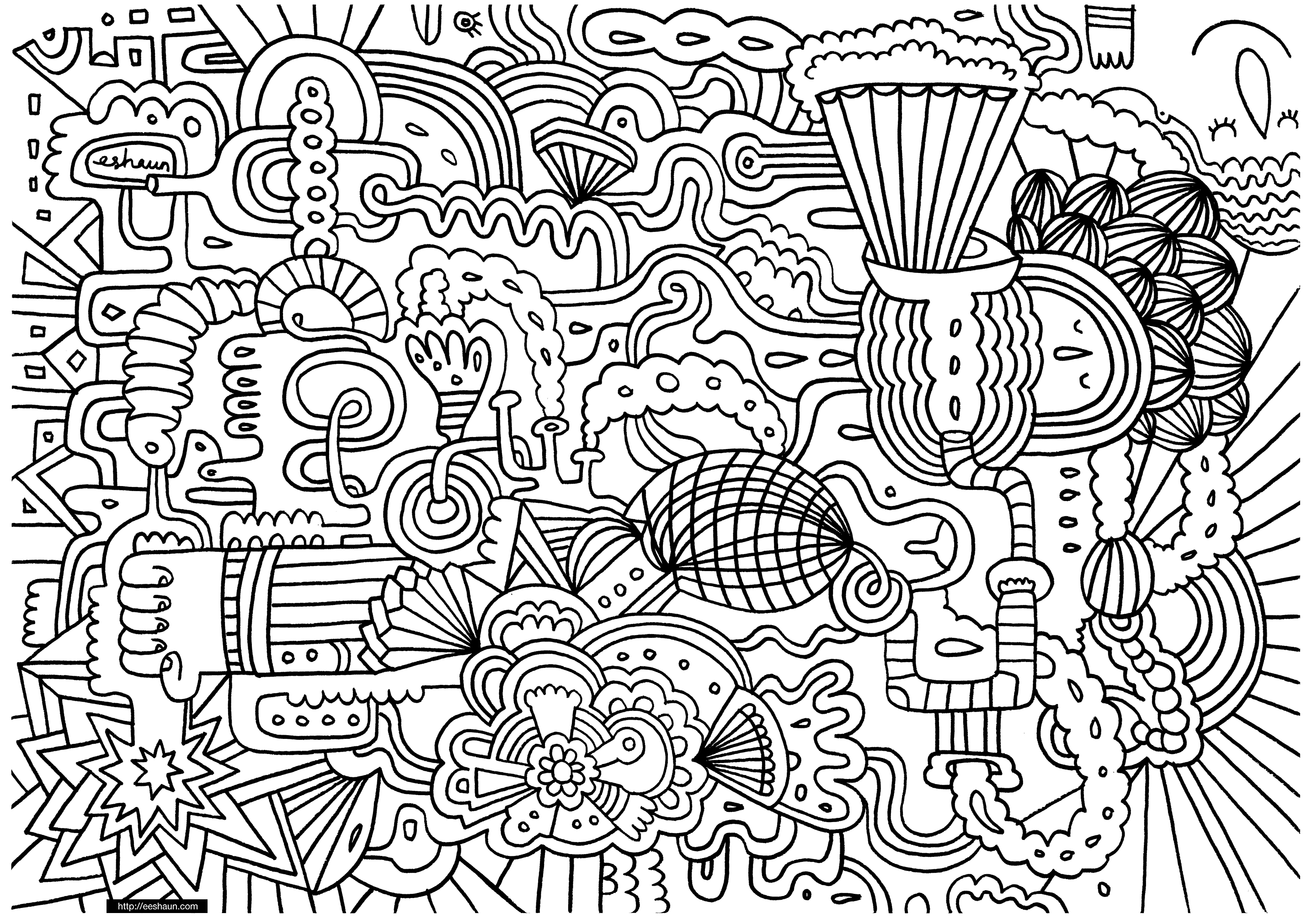 Free Coloring Page Coloring-doodle-art-doodling-1 A Doodle
