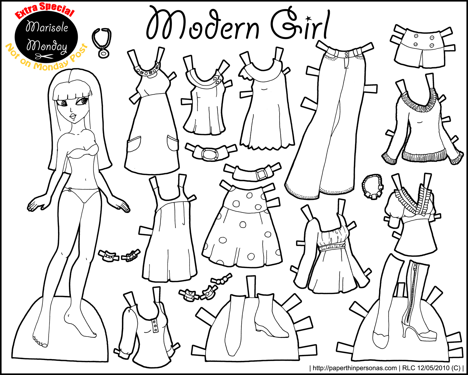 Marisole Monday: Modern Girl In Black & White | Coloring