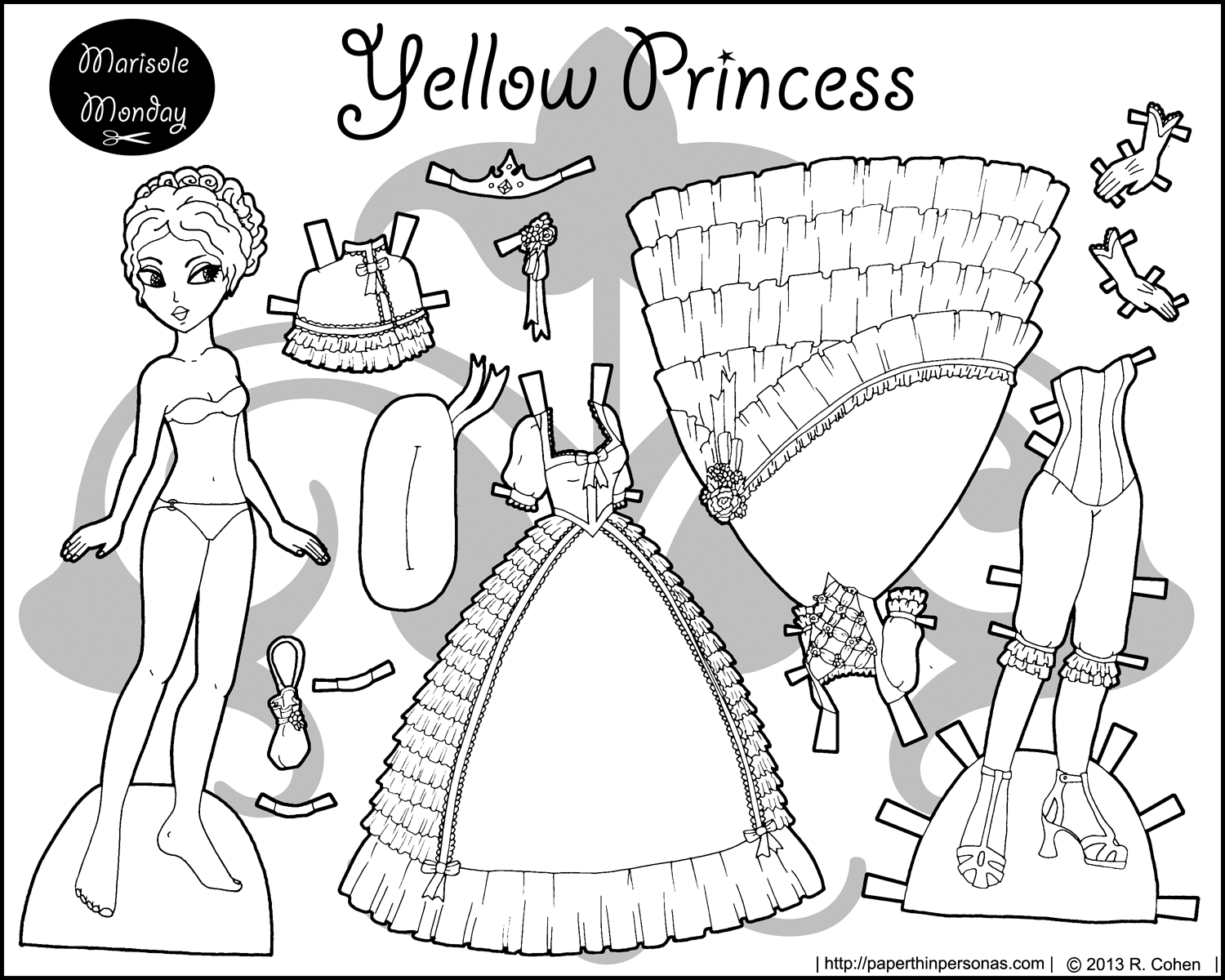 Four Princess Coloring Pages To Print & Dress | Paper Dolls