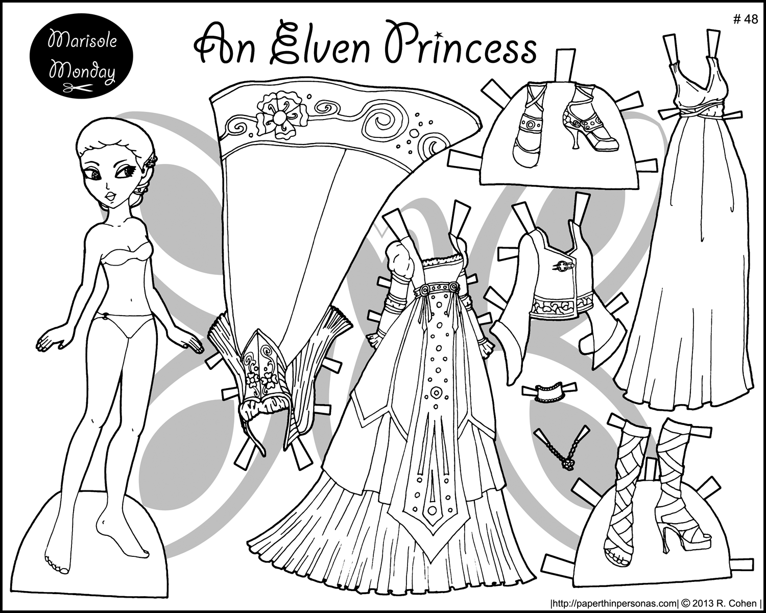 Four Princess Coloring Pages To Print & Dress | Templates