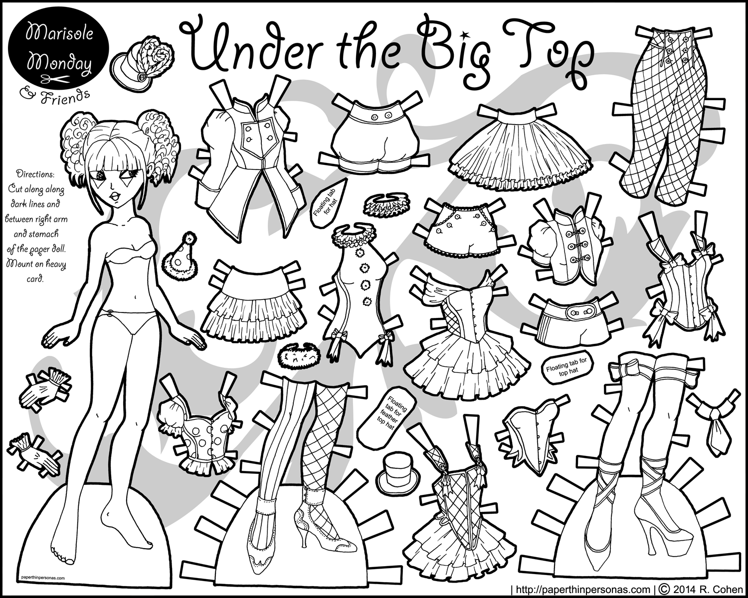 Circus Paper Doll For Coloring | Paper Dolls | Paper Dolls