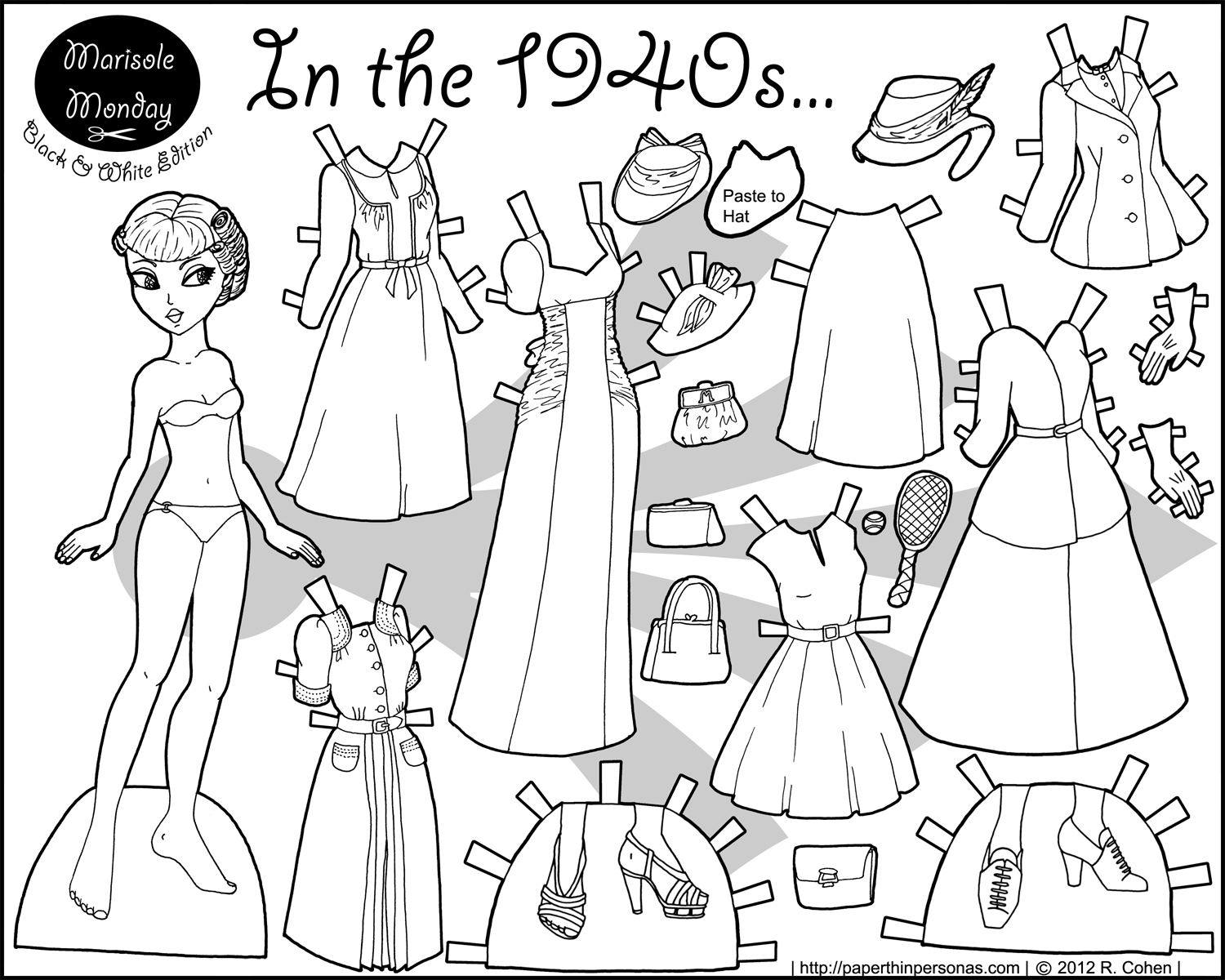 In The 1940s Paper Doll Coloring Page | Paper Doll 7