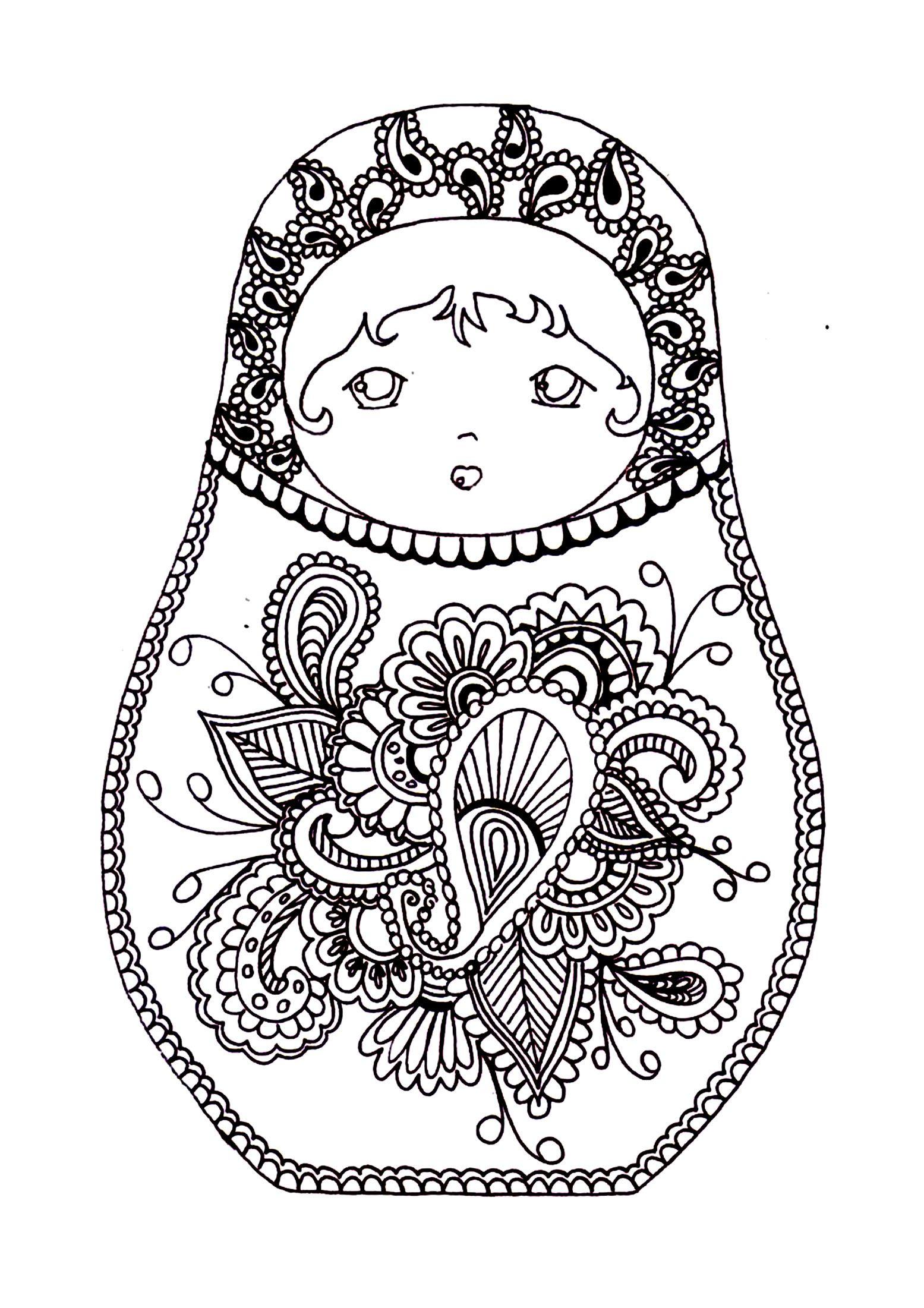 Free Coloring Page Coloring-russian-dolls-2   Babushka's