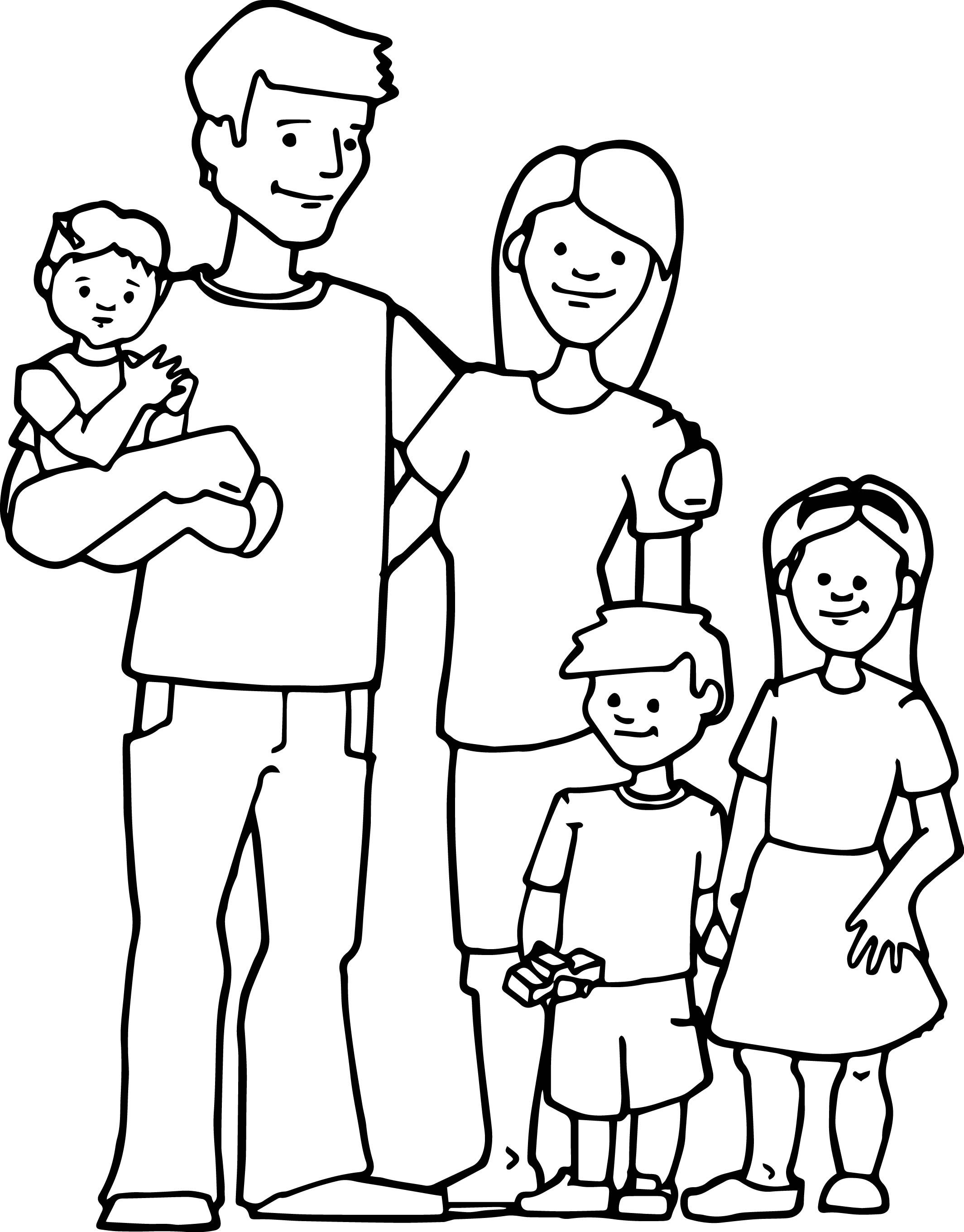 Awesome Family Kids Coloring Page | Wecoloringpage | Family